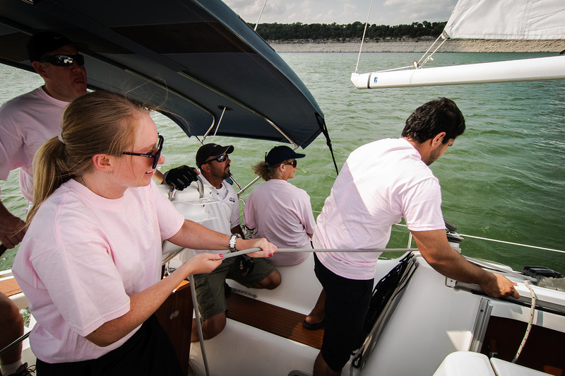 Mainsail crew at work.