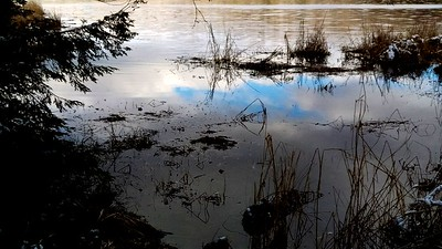 Blue Sky Reflection at Hemlock Lake