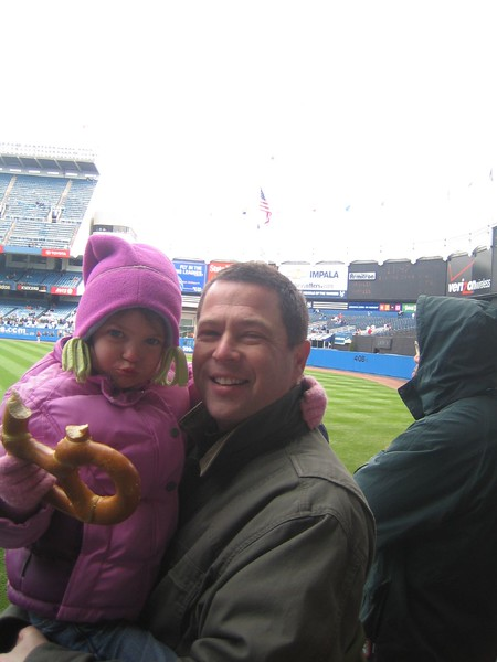 Jules and Daddy at the Yankee Game