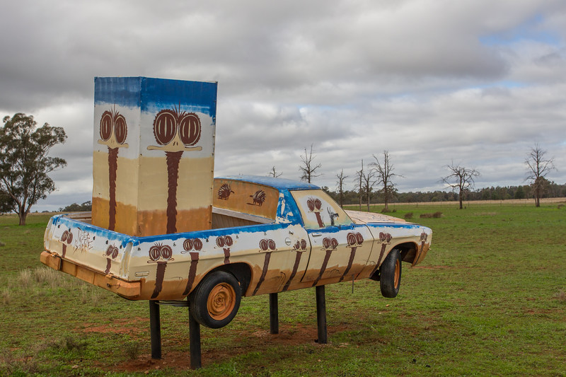 """1975 HJ Ute - Condobolin, New South Wales<br /> """"Emute"""" Artist: Peter Browne"""