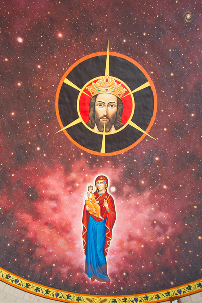 """Farm Chapel  """"Christ the King"""" on Farm """"Bolo"""" - Condobolin, New South Wales. Dome fresco from the inspiration of St Nicholas von Flue, hermit and patron of Switzerland, with the Virgin Mary and child, and Monstrance"""