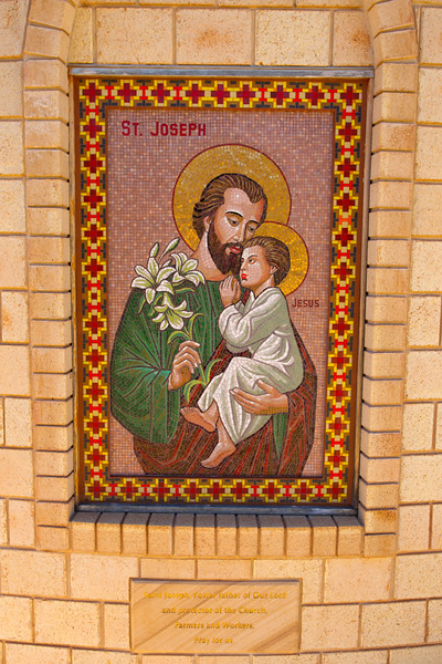 "Farm Chapel  ""Christ the King"" on Farm ""Bolo"" - Condobolin, New South Wales. Mosaic of St Joseph, patron of workers and farmers."