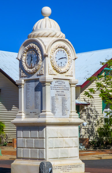 World War One Memorial Clock - Barcaldine, Queensland.<br /> The Memorial was erected in memory of the soldiers and nurses who enlisted from the district in World War One.   The memorial is a white marble clock tower and was unveiled by the Governor of Queensland, Sir Matthew Nathan on the 21st May 1924.