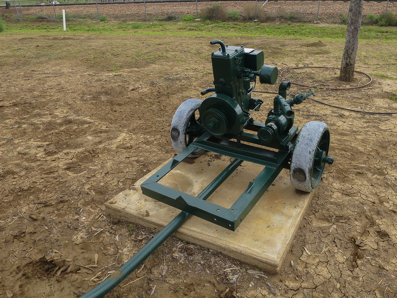 Auxiliary Pump - Ilfracombe, Queensland<br /> From Westlands Station, Longreach. The pump was used at the house dam when there was no wind for the windmill.<br /> The pump is a mono and was driven by a 2 H.P. Lister petrol motor.