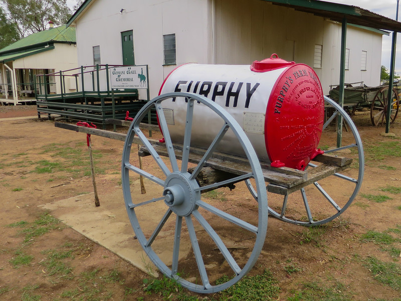 """Furphy Water Cart - Ilfracombe, Queensland<br /> These carts were used extensively during World War 1 to carry water to the troops. The drivers were notorious sources of information and gossip. As could be expected, not all of their news was reliable, leading to """"Furphy"""" becoming another word for rumour. Manufacture started in 1878 and continues to this day."""