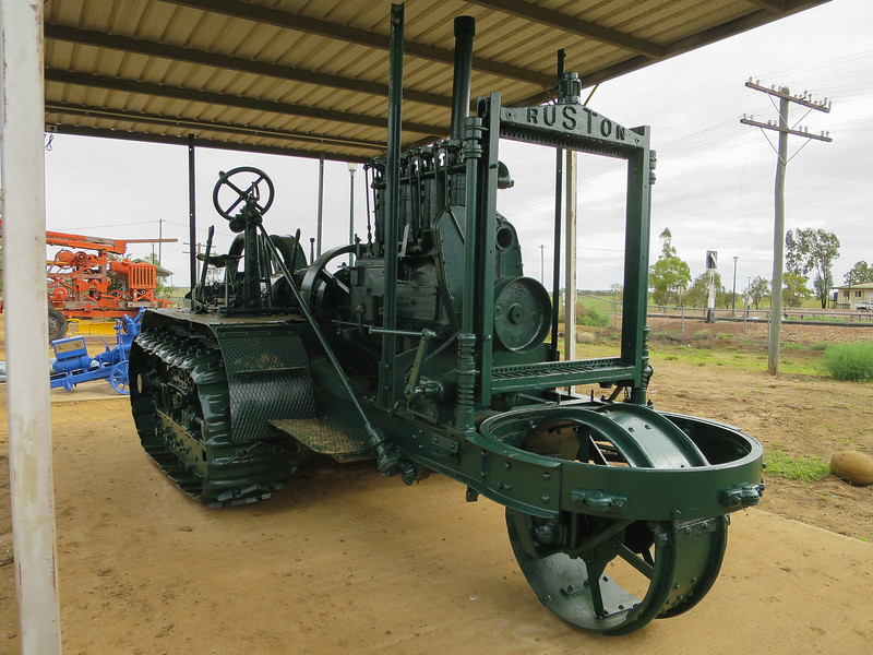 Tractor - Ilfracombe, Queensland<br /> This 1917 Ruston Kerosene tractor is one of only 3 remaining in the world and was the forerunner to the Caterpillar tractor.<br /> One of 443 manufactured, this machine was used in the building of the Longreach to Winton railway line in 1925.