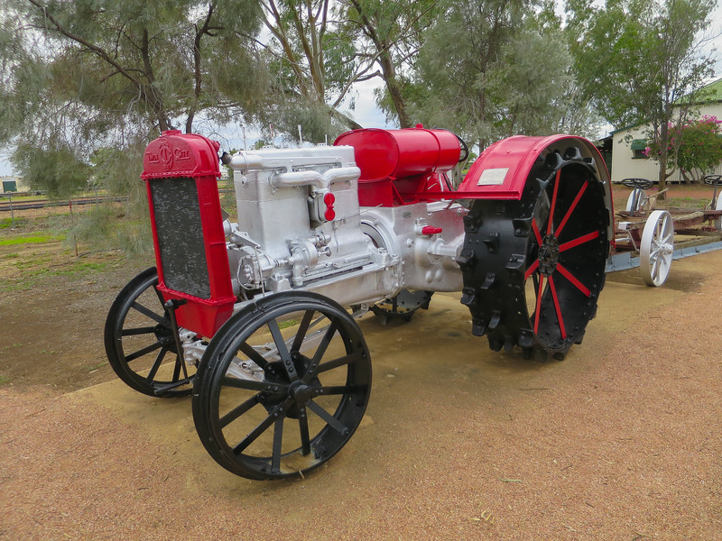 Tractor - Ilfracombe, Queensland<br /> A 1919 Model 27 H.P. Tractor. Killed a man while cranking it on The Darling Downs. Sold to Hereward Station, Morella in 1922, when it replaced 28 horses. It was used to pull a Comet Fire-plough and had a tendency to rear up.