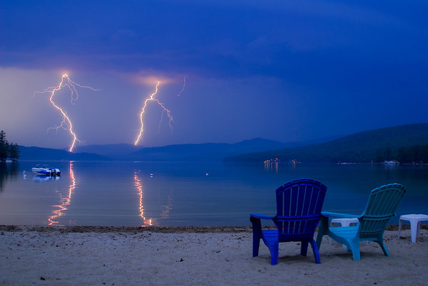 An electric show of two lightning bolts over Newfound Lake.