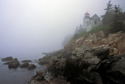 Bass Harbor Head Light in the fog, seen from waters edge, Acadia National Park, Mount Desert Island, Tremont, ME.