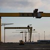 23.9.12. Early morning views of  the Harland & Wolff Shipyard Cranes Samson & Goliath in Belfast.