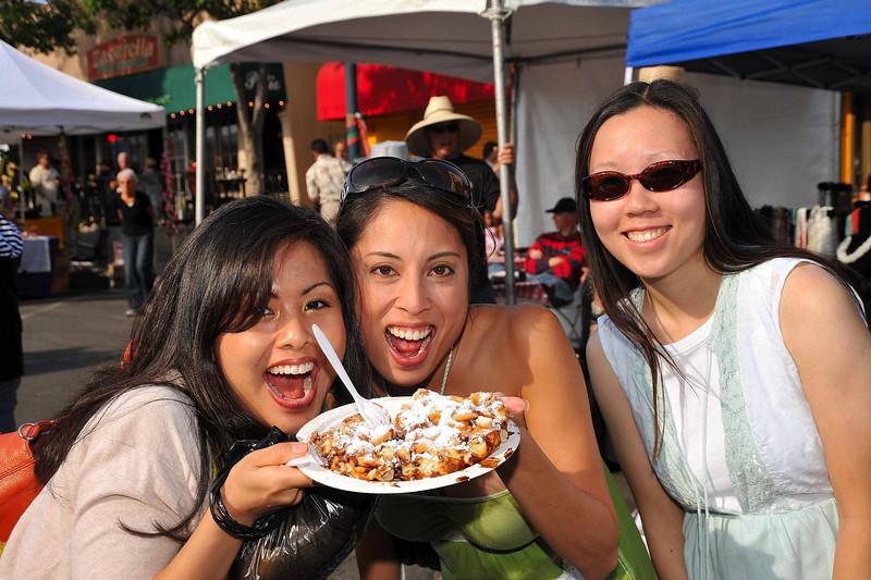 Enjoying gnocchi at the Sicilian Festival