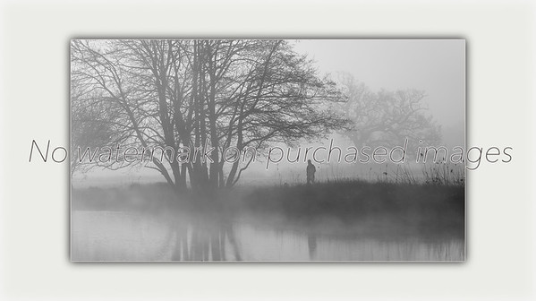 Lone Man with his Dog on a Misty Morning along the River Stour