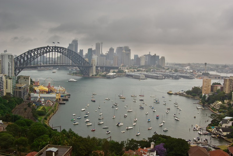 Sydney Harbour Bridge and City on a Rainy Day