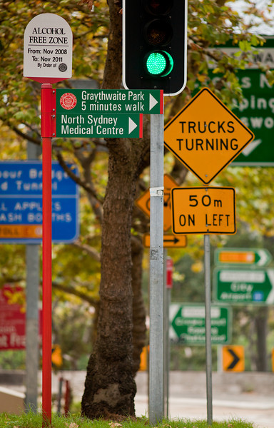 Road Signs in Berry Street, North Sydney on an Autumn Morning
