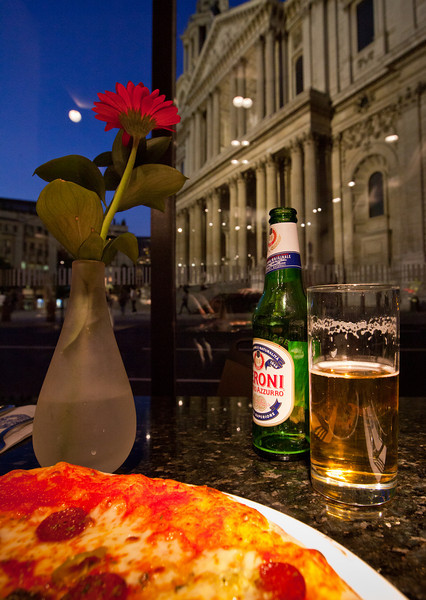 Dining across the road from the magnificent St Paul's Cathedral in London