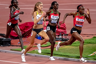 Hellen Obiri (Ken), Margaret Kipkemboi (Ken), Konstanze Klosterhalfen (Ger) and Lilian Rengeruk (Ken) compete in the Women's 5000 metres final during day nine of 17th IAAF World Athletics Championships Doha 2019 at Khalifa International Stadium on October 05, 2019 in Doha, Qatar. Photo by Tom Kirkwood/SportDXB