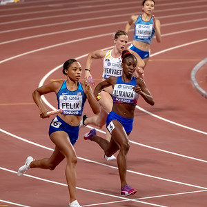 Action during the Women's 4x400m Relay heats during day nine of 17th IAAF World Athletics Championships Doha 2019 at Khalifa International Stadium on October 05, 2019 in Doha, Qatar. Photo by Tom Kirkwood/SportDXB