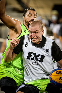 Action during day one of the FIBA 3x3 World Tour Doha Masters at Al Gharafa Beach Games Area November 20, 2020 in Doha, Qatar. Photo by Tom Kirkwood/SportDXB