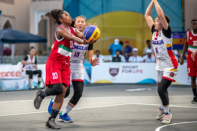 Mozambique and Mongolia in action during day one of the International 3x3 Basketball Tournament during the 1st ANOC World Beach Games at Katara on October 13, 2019 in Doha, Qatar. Photo by Tom Kirkwood/SportDXB
