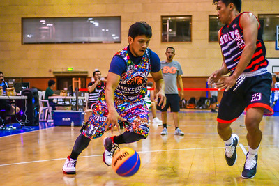 Bolts v's Red Crescent Team during a 3x3 Beat the Heat VIII match at Qatar Basketball Federation Sports Complex 30th August 2019. Photo by Tom Kirkwood