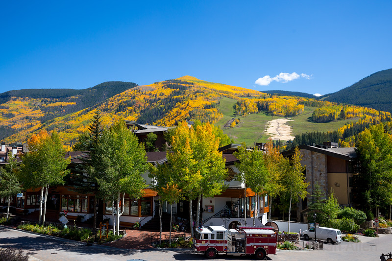 Vail village with view of the slopes