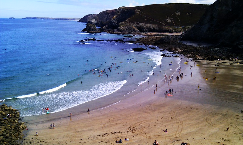 The local beach, Trevaunance Cove, at the height of summer