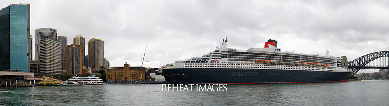 Cunard Queen Mary 2 at Circular Quay, Sydney. Image was stitched together from multiple photographs to make a wide panorama.