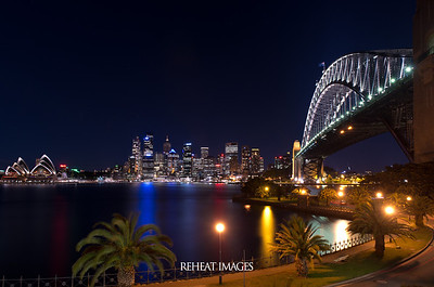 View of Sydney Harbour, Opera House, Harbour Bridge and Circular Quay from Milsons Point. Nikon D800e with 24-70mm F/2.8G in BULB mode for 421 seconds. A variable ND filter was also used to extend the exposure time.