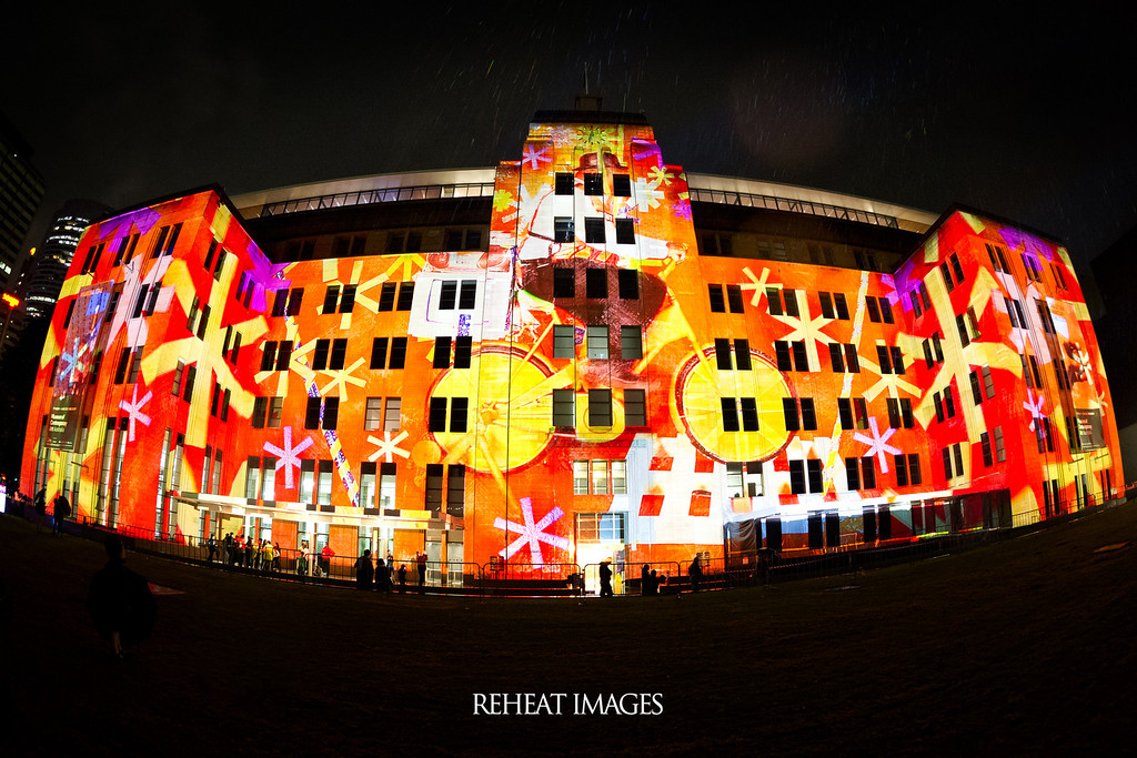 Sydney's Museum of Contemporary Art is illuminated in vivid colour in this scene from Vivid Sydney festival.