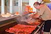 Cooking Chorizos and Garlic Prawns