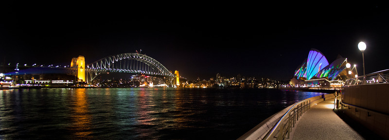 Vivid Festival: Sydney Harbour Panorama from Circular Quay
