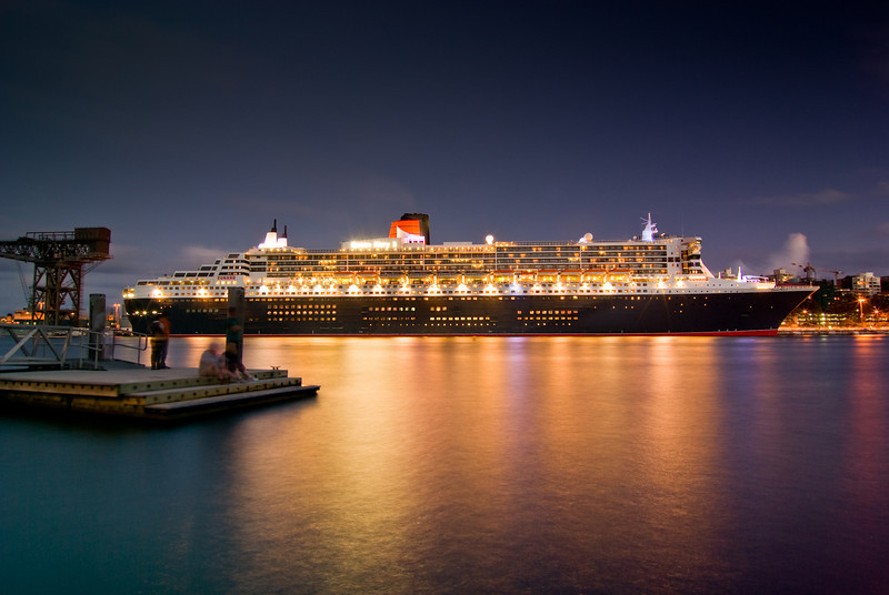 Queen Mary 2 Giant Cruiseliner in Sydney for the second time (moored at Garden Island)