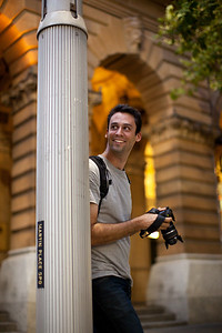 Charles looking for a street shot.  Martin Place, Sydney, Australia