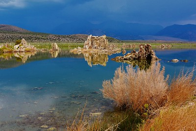 DistantStorm/ Sunrise lit Mono Lake