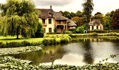 Marie Antoinette`s English Hamlet Cottage on the grounds of Versailles, France