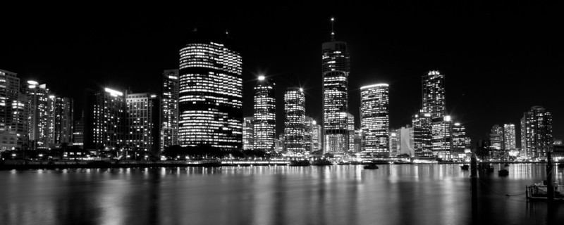 Brisbane River and City Skyline at Night