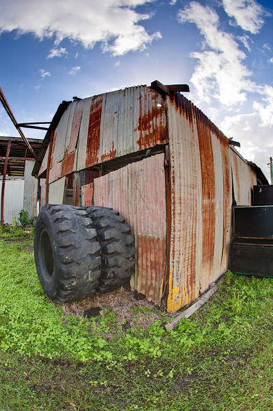 Rusty Shed and Tractor Tyres (HDR)