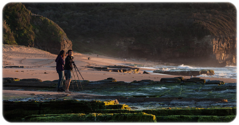 Photographers at Narrabeen Headland at Dawn