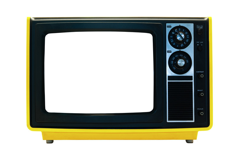 Bright Yellow Retro TV Isolated with Clipping Paths