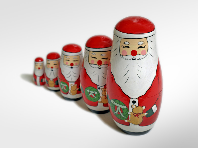 Santa Claus Russian Dolls (with clipping path)