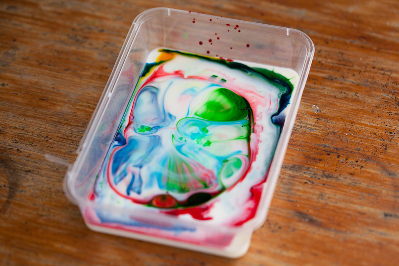 Playing with milk, food colouring, and dish soap