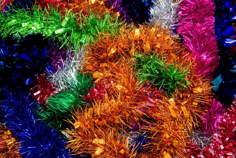 Rainbow Coloured Christmas Tinsel Texture