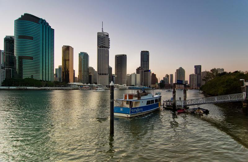 Ferry at Thornton Street Wharf, Brisbane at Sunset
