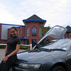 My wife on her Sera in front of one of my designs, the Paragon building in Kempston.