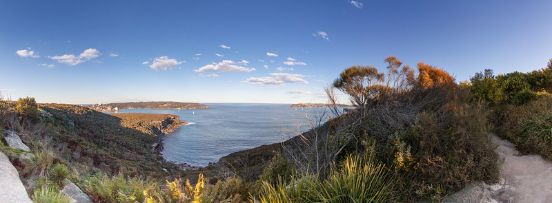 Panorama of Sydney Harbour North and South Heads from Sydney Harbour National Park Near Balgowlah Heights