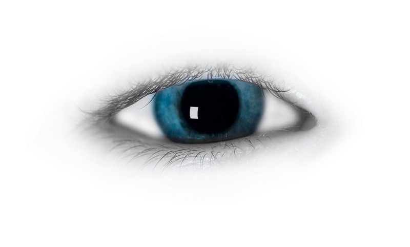 A blue human eye isolated on white with soft edges and desaturated eye socket
