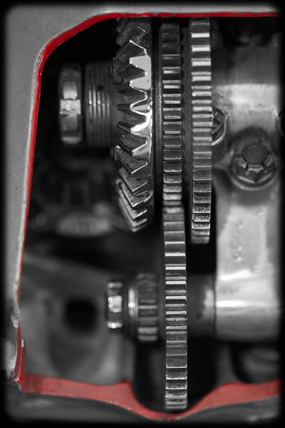 Cutaway of a Vintage Airplane Engine