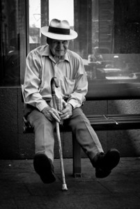 Old Man with Hat and Cane