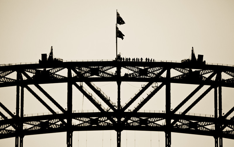 Sydney Harbour Bridge and Climbers in Silhouette