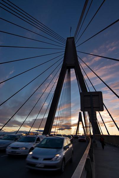Commuters on Anzac Bridge, Sydney